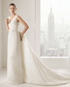 """Rosa Clara """"SIMPATIA"""" Bridal Collection 2015 - Grid patterned dress with hemstitch detailing."""