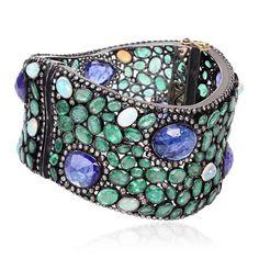 Emerald Sapphire Diamond Moonstone Curved Cuff.