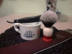 My grandpa's Ever Ready shaving brush and Old Spice mug. I restored the brush with a new badger hair knot.