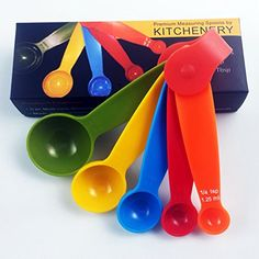 Kitchenery Premium Quality Measuring Spoons - Set of 5 Strong, Heavy Duty, Multi-color Spoons - Dishwasher Safe - 5-piece Plastic Measuring Spoon Set Includes 1/4, 1/2, 1 Teaspoon, 1/2 and Full Tablespoon - Perfectly Designed for Chefs and Moms * For more information, visit image link. (This is an affiliate link) #KitchenUtensilsGadgets