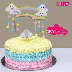Modelo do bolo do Ben Baby Cakes, Baby Shower Cakes, Sweet Cakes, Cupcake Cakes, Pretty Cakes, Beautiful Cakes, Rain Baby Showers, Twin Birthday Cakes, Cloud Party