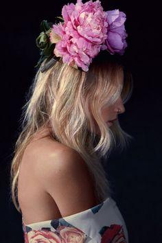 Floral Crown – model dree hemingway, muse magazine, photographer cass bird