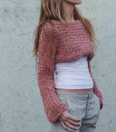 womens pink sweater pink cropped sweater / cropped by ileaiye