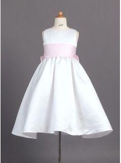 A-Line/Princess Scoop Neck Ankle-Length Satin Flower Girl Dresses With Sash (010007314)