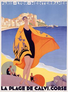 illustration : affiche de tourisme, Calvi, Corse, France. Art déco, plage                                                                                                                                                      More