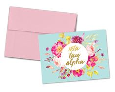 VIEW OUR ENTIRE ZETA TAU ALPHA COLLECTION https://www.etsy.com/shop/UptownGreek?search_query=zeta+tau+alpha  ♥♥♥♥♥♥♥♥♥♥♥♥♥♥♥♥♥♥♥♥♥♥♥♥♥♥♥♥♥♥♥♥♥♥♥♥  5x7 flat card with design printed on one side. Includes your choice of envelope color. Buy a single card, or receive a discount when you purchase a pack of 6. Notecards are perfect size to be framed by recipient. ♥♥♥♥♥♥♥♥♥♥♥♥♥♥♥♥♥♥♥♥♥♥♥♥♥♥♥♥♥♥♥♥♥♥♥♥  All items are approved through Greek licensing, and available for bulk purchase!  Items ships…