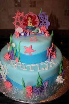 Little mermaid cake... I want to make one for my friends bday. Lol