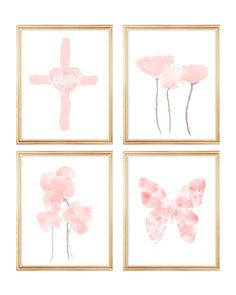 Christian Nursery Prints, Set of Blush Gallery Wall for Baby Watercolor Print, Watercolor Paintings, Blush Nursery, Linen Pillows, Nursery Prints, All Print, Flower Prints, Gallery Wall, Christian