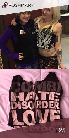 Combichrist top Custom one of a kind halter top with front zip made from official Combichrist band merch Tops