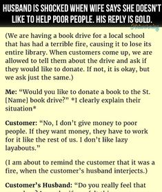 HUSBAND WIFE JOKES & FUNNY STORY HUSBAND IS S HOCKED WHEN WIFE SAYS SHE DOESN'T LIKE TO HELP POOR PEOPLE..