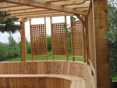 I like that this basic trellis looks different in a group of 3. great idea for our patio!