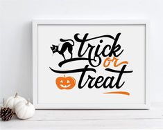 Trick or Treat - Halloween Display this fun trick or treat square sign over a mantle or hang it in your dining room or living room. You can download and print this file instantly giving you the flexibility to print at a variety of sizes! Printing tip: For best results, print your art on fine art Halloween Signs, Halloween Treats, Halloween Displays, New Media Art, Mixed Media Art, Trick Or Treat, Farmhouse Decor, Affordable Wall Art, Home Wall Decor