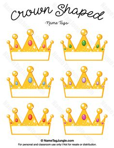 Free printable crown-shaped name tags. The template can also be used for creating items like labels and place cards. Download the PDF at http://nametagjungle.com/name-tag/crown-shaped/