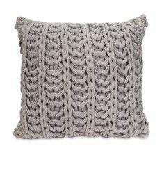 Gray Knitted Crochet Accent Pillow//