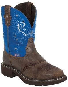 Justin Gypsy Boots for Women | Wing And Cross Stitch Square Toe Cowgirl Boot in Brown and Blue Suede