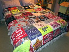 Tshirt quilt.... I definitely want to make at least one of these in my life. Dad already said I can use some of his shirts.