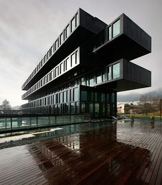 The exterior of the Axis Viana Hotel in Viana do Castelo, Portugal is made up of reflective aluminum, black glass, and green stone.  (Courtesy Axis Viana Hotel) From: The Hotel World's Most Striking Architecture.