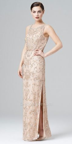 Beaded lace blouson dress Aidan Mattox