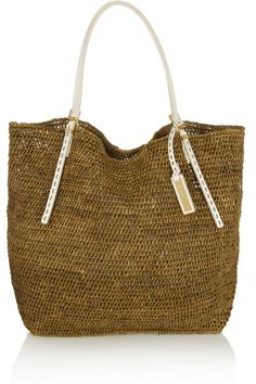 Perfect MK bag for a sunny vacation Michael Kors Santorini leather-trimmed  raffia tote 7c9fc6014638b