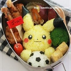 pikachu with soccer ball bento.but with a tiger instead Bento Box Lunch For Kids, Bento Kids, Cute Bento Boxes, Bento Recipes, Baby Food Recipes, Cute Food, Yummy Food, Japanese Food Art, Japanese Lunch Box