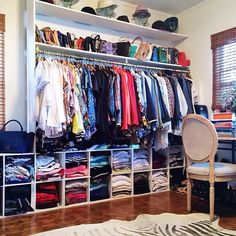 Aimee Song's closet. The use of cubbies is an inexpensive way to organize without spending a fortune.