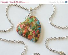 Rainbow Sea Sediment Jasper Heart Necklace Heart by AlwaysCrafty77, $18.40