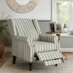 Shop for The Gray Barn Hale Farmhouse Stripe Wingback Push Back Recliner Chair. Get free delivery On EVERYTHING* Overstock - Your Online Furniture Shop! Living Room Seating, Living Room Chairs, Farmhouse Recliner Chairs, Farmhouse Accent Chairs, Farmhouse Decor, Striped Chair, Chair Price, Chair Types, Wing Chair