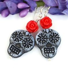 Sugar Skull and Red Rose Earrings, Handmade Day of the Dead Jewelry