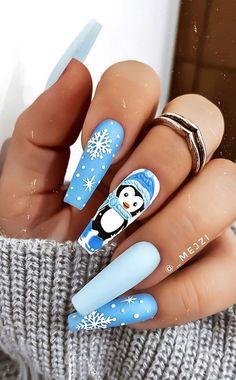 Cute Christmas Nails, Xmas Nails, Christmas Nail Art Designs, Holiday Nails, Christmas Makeup, Blue Christmas, Christmas Design, Winter Christmas, Cute Acrylic Nail Designs