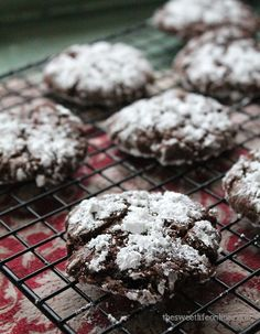 Chocolate Peppermint Crinkle Cookies  makes 3 dozen  1 cup dutch-processcocoa powder 2 cups sugar 1/2 cup vegetable oil 3/4 cup apple sauce...