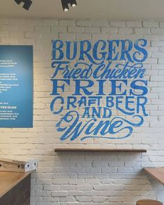"""Burgers, Fried Chicken, Fries, Craft Beer & Wine"" by Sam Lee - psh forget a restaurant, I'd paint this in my house Types Of Lettering, Lettering Design, Restaurant Signage, Schrift Design, Typographie Inspiration, Beautiful Lettering, Hand Drawn Type, Signwriting, Type Design"