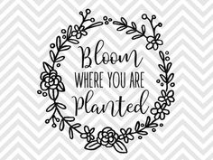 Bloom Where You Are Planted Laurel Wreath SVG and DXF EPS Cut File • Cricut • Silhouette