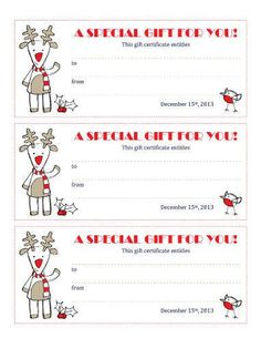 Printable Christmas Gift Certificates  Candy Cane Christmas Free