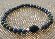 Unisex Hematite and Lava Rock Essential Oil Diffuser Bracelet $25 www.revolutionarity.com
