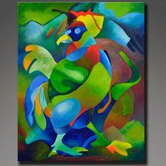 Matin coq Original peinture abstraite Commission Art de coq