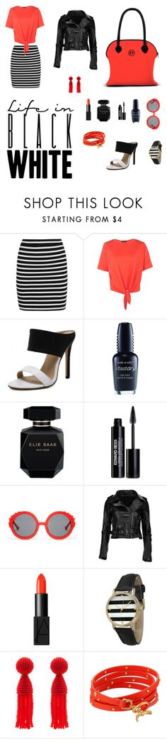 """black'n white with a hint of vermillion"" by loomloomilano ❤ liked on Polyvore featuring T By Alexander Wang, Boohoo, Wet n Wild, Elie Saab, Edward Bess, Preen, NARS Cosmetics, Olivia Pratt, Oscar de la Renta and Tory Burch"