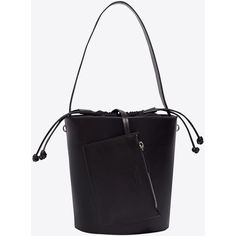 Black Bucket Bag ❤ liked on Polyvore featuring bags, handbags, shoulder bags, bucket bags handbags, bucket shoulder bag, black bucket bag, black purse and bucket bag purse