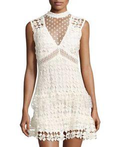 Sleeveless Crochet Lace Dress, Off White