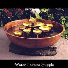 Come see us at https://www.waterfeaturesupply.com/waterwalls/tabletop-water-fountains.html for more information on these wonderful table water fountain features.    For an incredibly low price, this waterfall feature operates off a standard 110 AC volt outlet and can be installed in minutes.