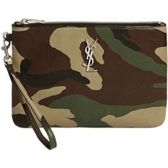 Saint Laurent Women Monogram Camouflage Leather Pouch ($635) ❤ liked on Polyvore featuring bags, handbags, military green, yves saint laurent, leather pouch, brown leather bag, brown bag and camouflage bag