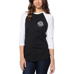 Sink your teeth into some fierce style in the Obey Wolf Patch baseball tee shirt for girls. Designed with a Black body and White raglan sleeves, this baseball tee shirt has a small Obey wolf patch graphic at the left chest, with the same graphic but large