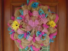 Hey, I found this really awesome Etsy listing at http://www.etsy.com/listing/127839508/spring-butterfly-burlap-deco-mesh-wreath in love with the colors