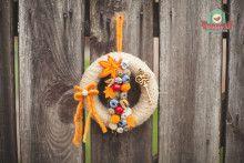 Zsákvászon koszorú őszi díszekkel Wreaths For Front Door
