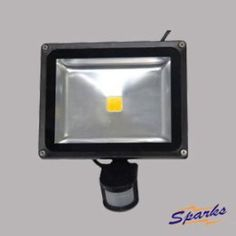 30W LED Flood Light with Occupancy Detector for Back Gardens, Black Security Light