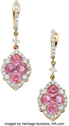 Estate Jewelry:Earrings, Sapphire, Diamond, Gold Earrings, Piranesi. ...