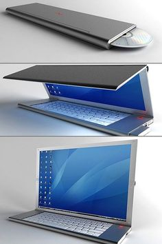"Called ""Feno"", this sleek and portable notebook computer comes equipped with a flexible OLED display, full-sized keypad and pop-out mouse, all packed into a foldable design. Simply unfold everything, and you've got yourself a desktop computer, complete with mouse. by beatrice"