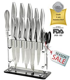 14 Pc Stainless Steel Cutlery kitchen Gadgets appliances Knife Block Set  8 Chef Bread Carving 5 Utility 3 Paring 4 Steak Knives Scissors Sharpener Stand Best world Class Wedding Gift *** Check out this great product. (Note:Amazon affiliate link)
