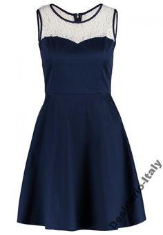 33b2fc943b FRACOMINA Italy granatowa sukienka z białą koronką - 5656829921 - oficjalne  archiwum allegro