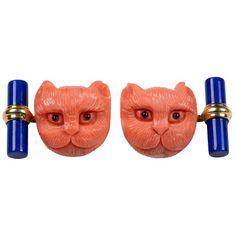 Mediterranean Coral Cat Lapis Lazuli Sapphires Gold Cufflinks | See more rare vintage Cufflinks at https://www.1stdibs.com/jewelry/cufflinks/cufflinks