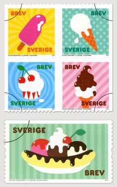 "Other pinner says: ""Ice cream stamps from Sweden""."
